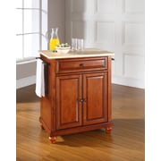 Crosley Cambridge Natural Wood Top Portable Kitchen Island in Classic Cherry Finish (KF30021DCH)