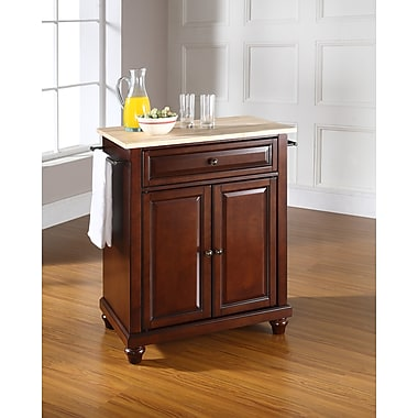 Crosley Cambridge Natural Wood Top Portable Kitchen Island in Vintage Mahogany Finish (KF30021DMA)