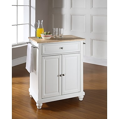Crosley Cambridge Natural Wood Top Portable Kitchen Island in White Finish (KF30021DWH)