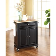 Crosley Natural Wood Top Portable Kitchen Cart/Island in Black Finish (KF30021EBK)
