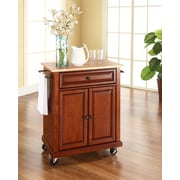 Crosley Natural Wood Top Portable Kitchen Cart/Island in Classic Cherry Finish (KF30021ECH)