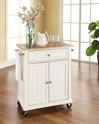 Crosley Natural Wood Top Portable Kitchen Cart/Island in White Finish (KF30021EWH)