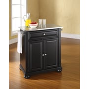 Crosley Alexandria Stainless Steel Top Portable Kitchen Island in Black Finish (KF30022ABK)
