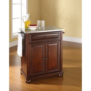 Crosley Alexandria Stainless Steel Top Portable Kitchen Island in Vintage Mahogany Finish (KF30022AMA)