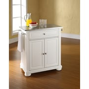 Crosley Alexandria Stainless Steel Top Portable Kitchen Island in White Finish (KF30022AWH)