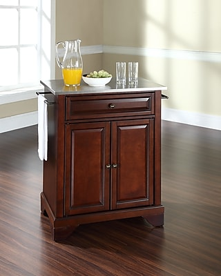 Crosley LaFayette Stainless Steel Top Portable Kitchen Island in Vintage Mahogany Finish (KF30022BMA)