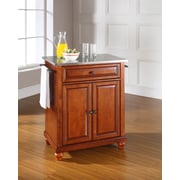 Crosley Cambridge Stainless Steel Top Portable Kitchen Island in Classic Cherry Finish (KF30022DCH)