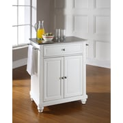 Crosley Cambridge Stainless Steel Top Portable Kitchen Island in White Finish (KF30022DWH)