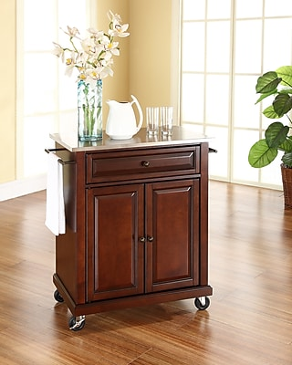 Crosley Stainless Steel Top Portable Kitchen Cart/Island in Vintage Mahogany Finish (KF30022EMA)