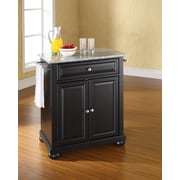 Crosley Alexandria Solid Granite Top Portable Kitchen Island in Black Finish (KF30023ABK)