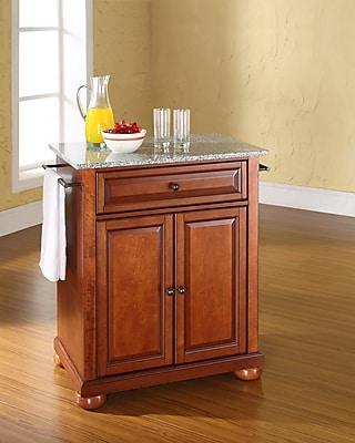 Crosley Alexandria Solid Granite Top Portable Kitchen Island in Classic Cherry Finish (KF30023ACH)