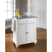 Crosley Cambridge Solid Granite Top Portable Kitchen Island in White Finish (KF30023DWH)