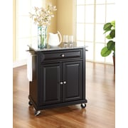 Crosley Solid Granite Top Portable Kitchen Cart/Island in Black Finish (KF30023EBK)