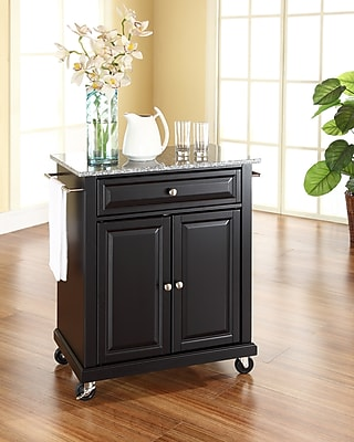 Crosley Solid Granite Top Portable Kitchen Cart/Island in Black Finish (KF30023EBK)