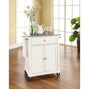 Crosley Solid Granite Top Portable Kitchen Cart/Island in White Finish (KF30023EWH)