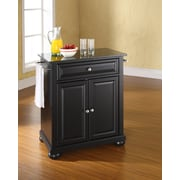 Crosley Alexandria Solid Black Granite Top Portable Kitchen Island in Black Finish (KF30024ABK)