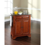 Crosley LaFayette Solid Black Granite Top Portable Kitchen Island in Classic Cherry Finish (KF30024BCH)