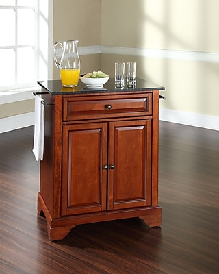 Crosley LaFayette Solid Black Granite Top Portable Kitchen Island in Classic Cherry Finish (KF30024BCH)