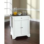 Crosley LaFayette Solid Black Granite Top Portable Kitchen Island in White Finish (KF30024BWH)