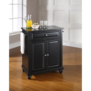 Crosley Cambridge Solid Black Granite Top Portable Kitchen Island in Black Finish (KF30024DBK)