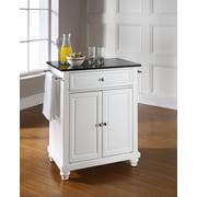Crosley Cambridge Solid Black Granite Top Portable Kitchen Island in White Finish (KF30024DWH)