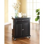 Crosley Solid Black Granite Top Portable Kitchen Cart/Island in Black Finish (KF30024EBK)