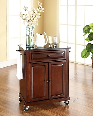Crosley Solid Black Granite Top Portable Kitchen Cart/Island in Vintage Mahogany Finish (KF30024EMA)