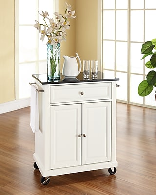 Crosley Solid Black Granite Top Portable Kitchen Cart/Island in White Finish (KF30024EWH)