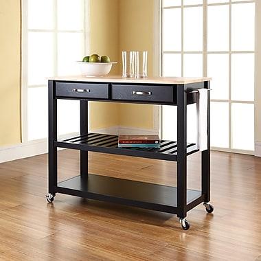 Crosley Natural Wood Top Kitchen Cart/Island With Optional Stool Storage in Black Finish (KF30051BK)
