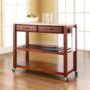 Crosley Natural Wood Top Kitchen Cart/Island With Optional Stool Storage in Classic Cherry Finish (KF30051CH)
