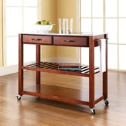 Crosley Stainless Steel Top Kitchen Cart/Island With Optional Stool Storage in Classic Cherry Finish (KF30052CH)