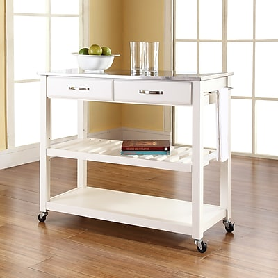 Crosley Stainless Steel Top Kitchen Cart/Island With Optional Stool Storage in White Finish (KF30052WH)
