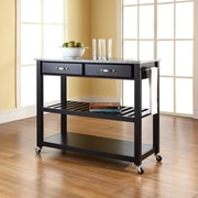 Crosley Solid Granite Top Kitchen Cart/Island With Optional Stool Storage in Black Finish (KF30053BK)