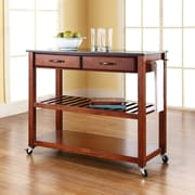 Crosley Solid Black Granite Top Kitchen Cart/Island With Optional Stool Storage in Classic Cherry Finish (KF30054CH)