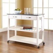 Crosley Solid Black Granite Top Kitchen Cart/Island With Optional Stool Storage in White Finish (KF30054WH)