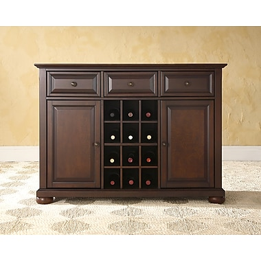 Crosley Alexandria Buffet Server / Sideboard Cabinet with Wine Storage in Vintage Mahogany Finish (KF42001AMA)