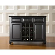 Crosley Cambridge Buffet Server / Sideboard Cabinet with Wine Storage in Black Finish (KF42001DBK)
