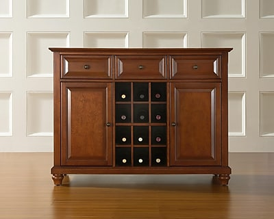 Crosley Cambridge Buffet Server / Sideboard Cabinet with Wine Storage in Classic Cherry Finish (KF42001DCH)