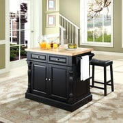 "Crosley Oxford Butcher Block Top Kitchen Island in Black Finish with 24"" Black Upholstered Saddle Stools (KF300064BK)"