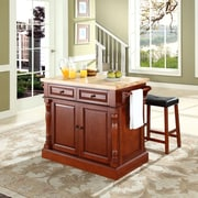 "Crosley Oxford Butcher Block Top Kitchen Island in Cherry Finish with 24"" Cherry Upholstered Saddle Stools (KF300064CH)"