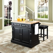 "Crosley Oxford Butcher Block Top Kitchen Island in Black Finish with 24"" Black Upholstered Square Seat  Stools (KF300065BK)"