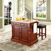 "Crosley Oxford Butcher Block Top Kitchen Island in Cherry Finish with 24"" Cherry Upholstered Square Seat  Stools (KF300065CH)"