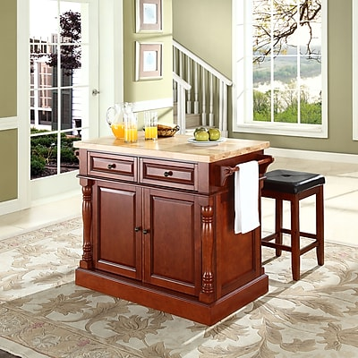 Crosley Oxford Butcher Block Top Kitchen Island in Cherry Finish with 24