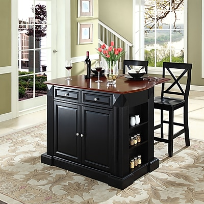 Crosley Coventry Drop Leaf Breakfast Bar Top Kitchen Island in Black Finish with 24