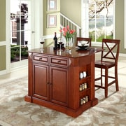 """Crosley Coventry Drop Leaf Breakfast Bar Top Kitchen Island in Cherry Finish with 24"""" Cherry X-Back  Stools (KF300073CH)"""