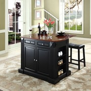 "Coventry Drop Leaf Breakfast Bar Top Kitchen Island in Black Finish with 24"" Black Upholstered Saddle Stools"