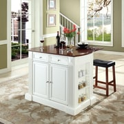 """Coventry Drop Leaf Breakfast Bar Top Kitchen Island in White Finish with 24"""" Cherry Upholstered Saddle Stools"""