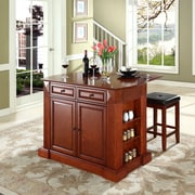 """Coventry Drop Leaf Breakfast Bar Top Kitchen Island in Cherry Finish with 24"""" Cherry Upholstered Square Seat  Stools"""