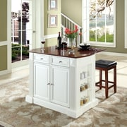 """Coventry Drop Leaf Breakfast Bar Top Kitchen Island in White Finish with 24"""" Cherry Upholstered Square Seat  Stools"""