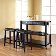 "Crosley Natural Wood Top Kitchen Cart/Island in Black Finish With 24"" Black Upholstered Saddle Stools (KF300514BK)"